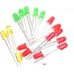 30x Leuchtdioden 5 mm in 5 Farben rot grün gelb diffus