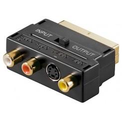 Scart-Adapter - Scartstecker zu 3 x Cinchbuchsen + 4 pol. mini DIN-Buchse