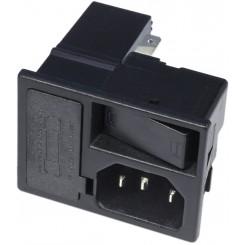 Kaltgeräte-Einbaustecker mit Schalter und Sicherung