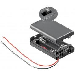 """Batteriehalter , 3x Micro """"AAA"""" - mit Anschlusskabel und Schalter"""