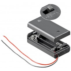 """Batteriehalter , 2x Mignon """"AA"""" - mit Anschlusskabel und Schalter"""