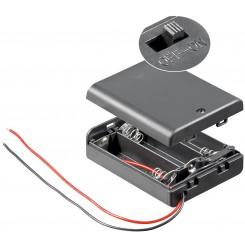 """Batteriehalter , 3x Mignon """"AA"""" - mit Anschlusskabel und Schalter"""