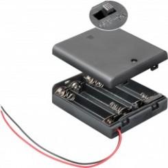 """Batteriehalter , 4x Mignon """"AA"""" - mit Anschlusskabel und Schalter"""
