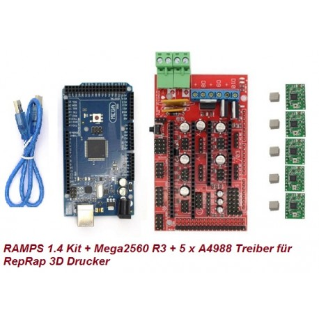 RAMPS 1.4 Kit + Mega2560 R3 Board + 5 x A4988 Treiber