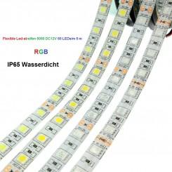 SMD-LED-Strip , 300 LEDs RGB Länge 5 m, weisser Untergrund IP65