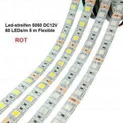 SMD-LED-Strip , 300 LEDs ROT Länge 5 m, weisser Untergrund