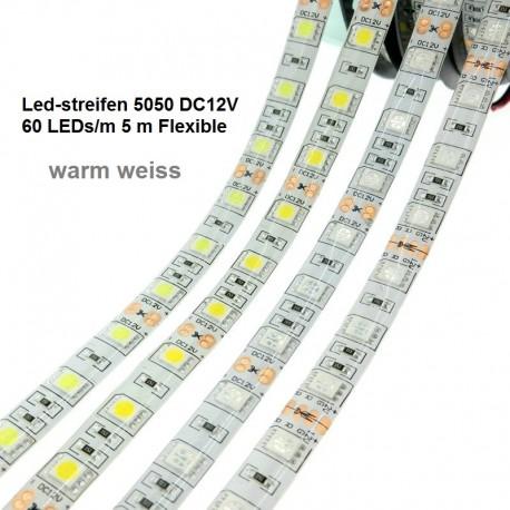 SMD-LED-Strip , 300 LEDs warm Weiss Länge 5 m, weisser Untergrund