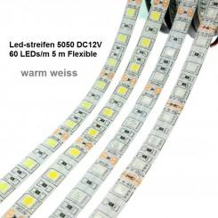 SMD-LED-Strip , 300 LEDs warm Weiss Länge 5 m, weisser Untergrund  IP65