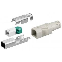 USB B-Stecker zur werkzeugfreien Crimp-Montage inkl. Tülle