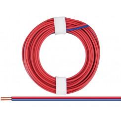 Kupferlitze isoliert 2 x 0,14 mm² 5 m Ring rot/blau
