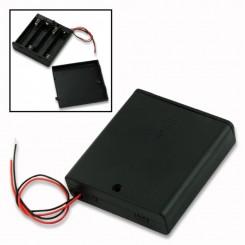 "Batteriehalter , 4x Micro ""AAA"" - mit Anschlusskabel+Schalter"