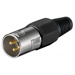 Mikrofonstecker, 3-polig, schwarz - geschraubte Zugentlastung