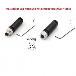 M8-Stecke/Kupplung, 4-polig, Schraubverschluss