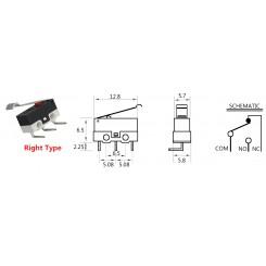 Micro-Schalter (Endschalter) Rollenhebel Rot rechts gewinkelt