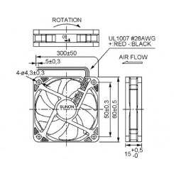 SUNON Lüfter Vapo-Lager 12 Vdc 60 x 60 x 15 mm mit Litze AWG26 schwarz