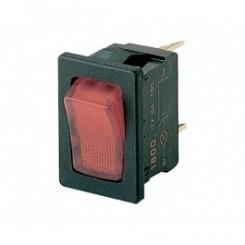Wippschalter 1 pol 10A 250Vac rot Beleuchtet