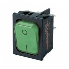 Wippschalter 2 pol 20A 250Vac Grün Beleuchtet