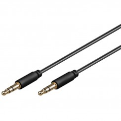 Audio-Video-Kabel 5 m 3-polig slim 3.5 mm Stereo-Stecker - 3.5 mm Stereo-Stecker schwarz